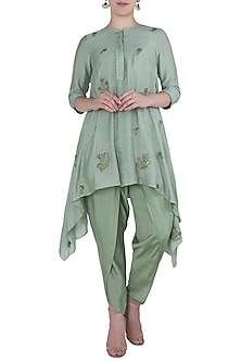 Jade Green Embroidered Asymmetrical Kurta with Pants by Myoho