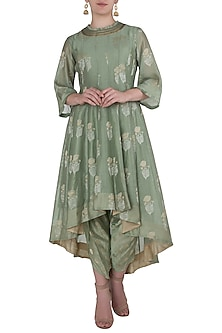 Jade Green Asymmetrical Embroidered Kurta with Dhoti Pants by Myoho