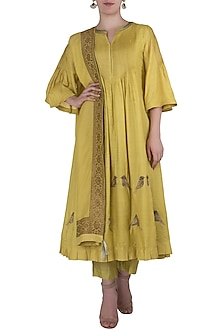 Lime Green Embroidered Pintucks Kurta Set by Myoho