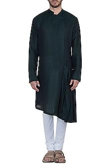Bottle green pleated kurta with pants by Mayank Modi