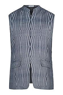 Grey and black printed nehru jacket