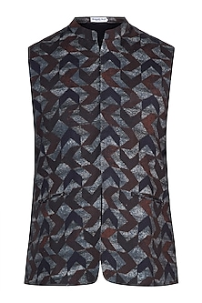Brown printed nehru jacket