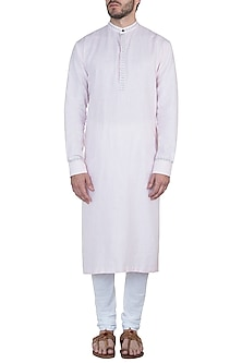 Pastel pink embroidered kurta with pants by Mayank Modi