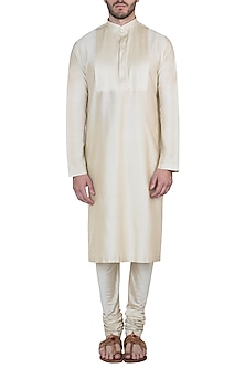 Beige kurta with pants by Mayank Modi