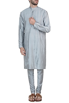 Silver grey kurta with pants by Mayank Modi