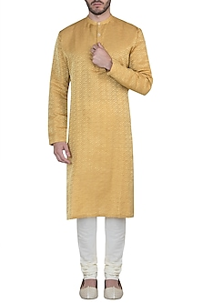 Mustard yellow kurta with pants by Mayank Modi