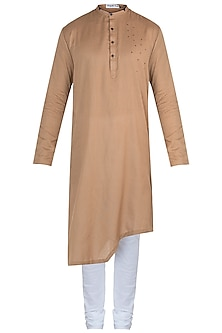 Brown embroidered kurta with pants