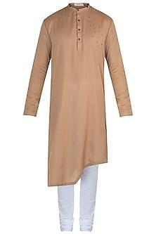 Brown embroidered kurta with pants by Mayank Modi
