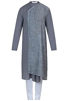 Grey overlap kurta with pants