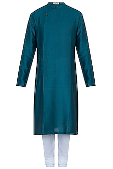 Bottle green kurta with pants