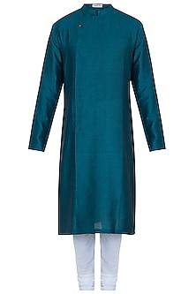 Bottle green kurta with pants by Mayank Modi