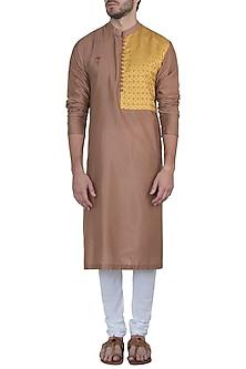 Brown kurta with pants by Mayank Modi
