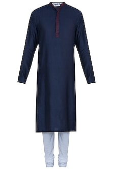 Blue jacquard kurta with pants