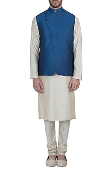 Navy blue nehru jacket by Mayank Modi