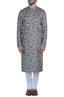 Grey retro printed kurta with pants by Mayank Modi