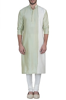 Green and ivory embroidered kurta with pants by Mayank Modi