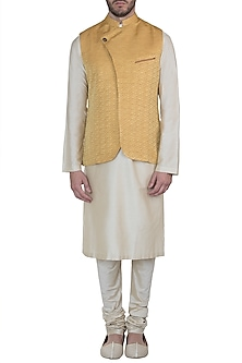 Yellow overlap nehru jacket by Mayank Modi