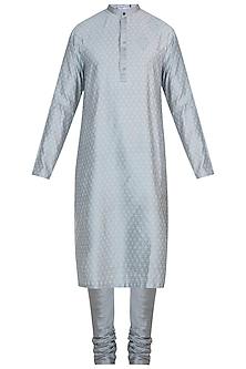Silver grey embroidered kurta with pants by Mayank Modi