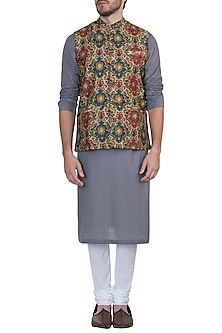 Multicolored printed nehru jacket by Mayank Modi