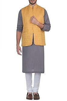 Yellow nehru jacket by Mayank Modi