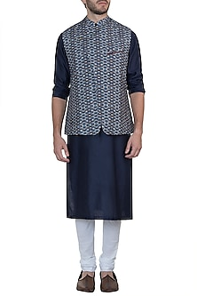Blue digital printed nehru jacket by Mayank Modi