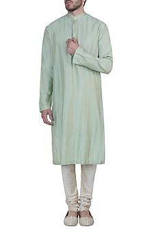Green pintuck kurta with pants by Mayank Modi