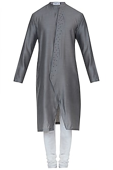 Grey embroidered kurta with pyjama pants