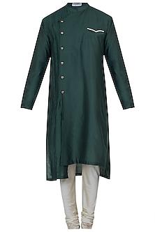Bottle green kurta with pyjama pants by Mayank Modi