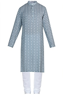 Blue printed kurta with pyjama pants