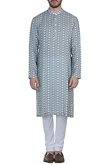 Blue printed kurta with pyjama pants by Mayank Modi