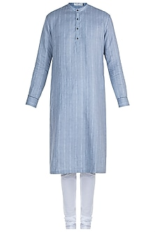 Blue Pinstripe Kurta Set by Mayank Modi