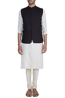 Black Quilted Nehru Jacket by Mayank Modi