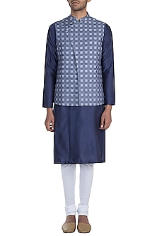 Blue Hand Embroidered Checkered Nehru Jacket by Mayank Modi