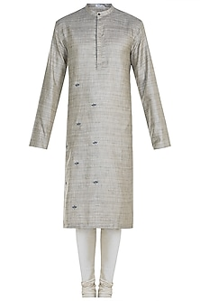 Brown Hand Embroidered Kurta Set by Mayank Modi