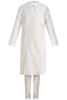 Cream Jacquard Kurta Set by Mayank Modi