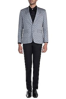 Grey Checkered Blazer by Mayank Modi