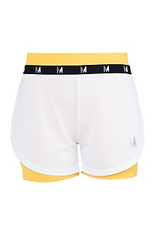 White elastic shorts by Myriad