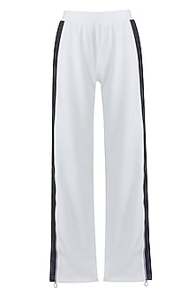 White embroidered wide leg pants