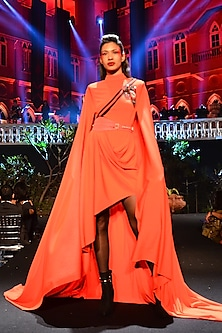Red Drape Dress With Belt by Shantanu & Nikhil