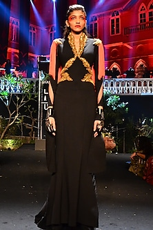 Black Hand Embroidered Ponte Saree Gown by Shantanu & Nikhil