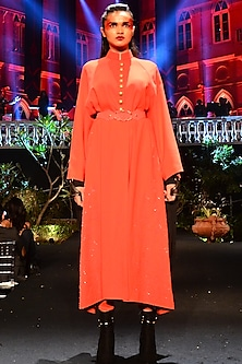 Red Maxi Dress With Pants & Embroidered Belt by Shantanu & Nikhil