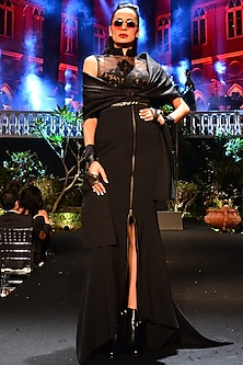 Black Embroidered Gown With Attached Cape by Shantanu & Nikhil