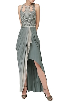 Grey Embroidered Asymmetrical Ombre Drape Gown by Naffs