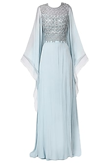 Pastel Blue Embroidered Kaftan Drape Gown by Naffs