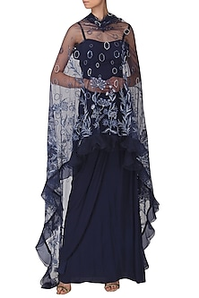 Navy Blue Drape Gown with Embroidered Cape Set by Naffs