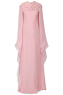 Pastel Pink Embroidered Kaftan Drape Gown