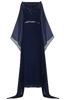 Navy Blue Embroidered Kaftan Drape Gown