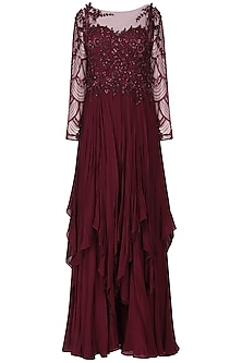 Windsor Wine Embroidered Layered Gown by Naffs
