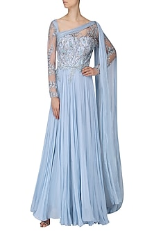Pastel Blue Embroidered Drape Gown by Naffs
