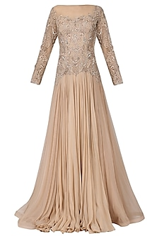 Nude Blush Embroidered Gown by Naffs